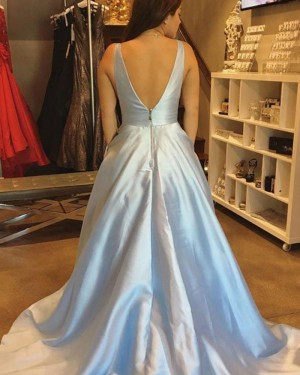 Simple Light Blue Satin V-neck Ball Gown Prom Dress PM1221