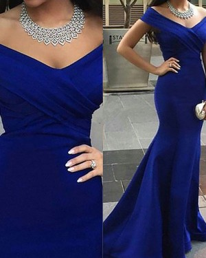 Simple Mermaid Navy Blue Ruched Off the Shoulder Long Prom Dress PM1222