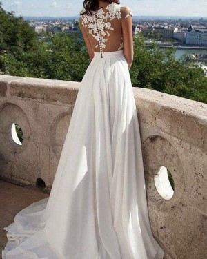 Long Ivory Chiffon Sheer Lace Appliqued Prom Dress with Side Slit PM1223