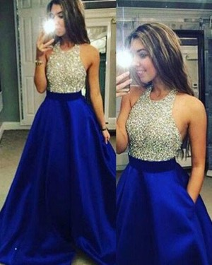 Blue Satin Halter Beading Ball Gown Prom Dress with Pockets PM1225