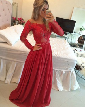 Red Off the Shoulder Lace Bodice Satin Prom Dress with Long Sleeves PM1229