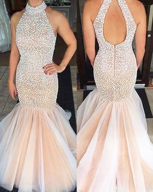 Elegant Long Pink High Neck Beading Tulle Mermaid Prom Dress PM1231