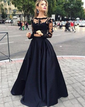 Two Piece Black Lace Bodice Satin Prom Dress with Long Sleeves PM1232