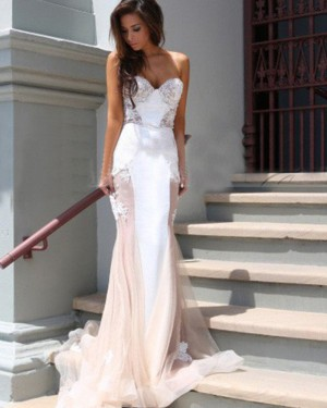 White and Champagne Tulle Sweetheart Appliqued Mermaid Prom Dress PM1235