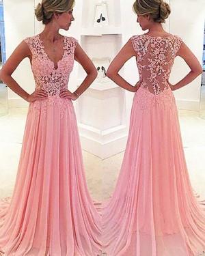 Long Pink Chiffon V-neck Lace Appliqued Prom Dress PM1237