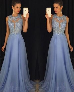 Light Blue Beading High Neck Lace Chiffon Prom Dress PM1238