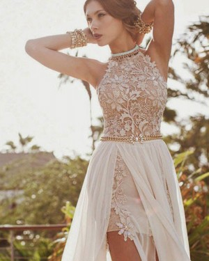 Ivory Lace Bodice High Neck Prom Dress with Detachable Tulle Skirt PM1239