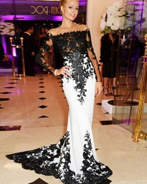 Satin Mermaid Off the Shoulder Black Appliqued Prom Dress with Long Sleeves PM1240