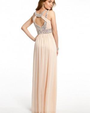 Elegant Long Pink Chiffon Cutout Beading Pleated Prom Dress PM1241