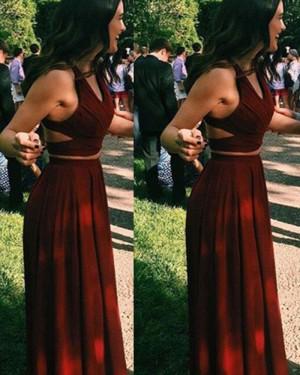Long Satin Two Piece Burgundy V-neck Prom Dress PM1242