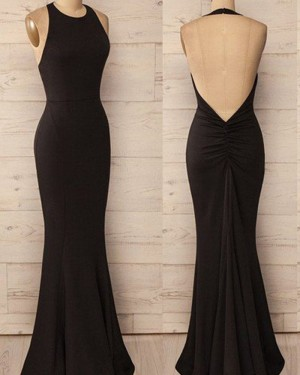 Simple Mermaid Satin Halter Black Prom Dress PM1244