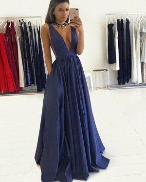 4a639d6b2ad Long Navy Blue Deep V-neck Pleated Prom Dress with Pockets PM1245