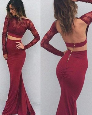 Burgundy Satin Two Piece Lace Bodice Mermaid Prom Dress with Long Sleeves PM1246