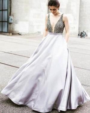 Light Purple Deep Neck Satin Beading Bodice Ball Gown Prom Dress PM1259