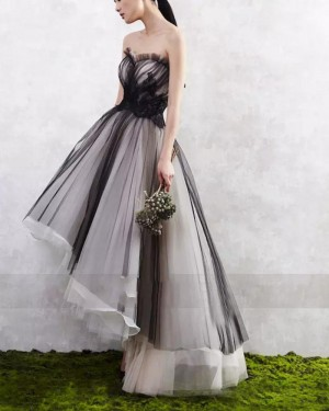 Black and White Tulle High Low Layered Long Formal Dress PM1261