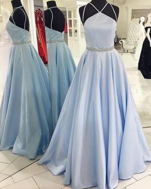 Light Blue Satin Double Spaghetti Straps Prom Dress with Beading Belt PM1264