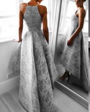 Stunning Grey High Low Spaghetti Straps Lace Formal Dress PM1266