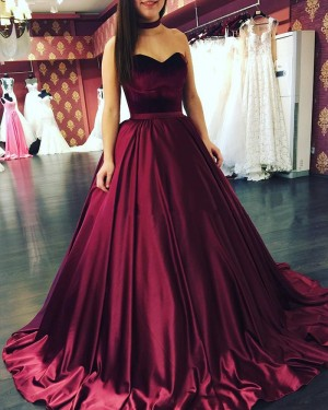 Simple Burgundy Satin Sweetheart Pleated Ball Gown Prom Dress PM1267