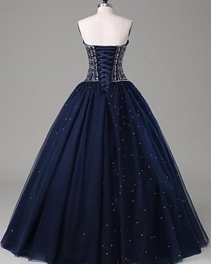 Blue Sweetheart Sparkle Beading Navy Ball Gown Prom Dress PM1268