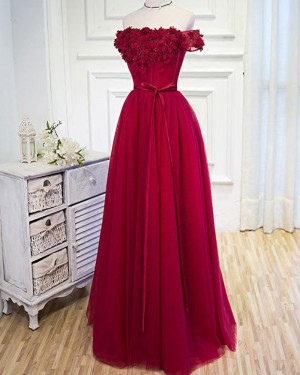 Long Red Tulle Off the Shoulder Prom Dress with Handmade Flowers PM1271