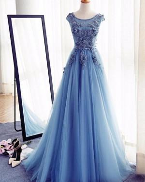 Blue Tulle Jewel Handmade Flowers Long Prom Dress PM1273
