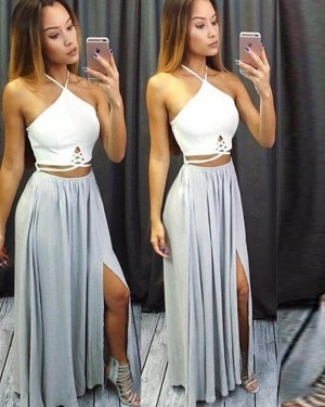 White and Dusty Blue Halter Cutout Chiffon Prom Dress with Side Slit PM1275