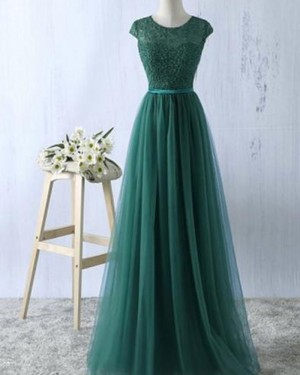 Long Green Tulle Sheer Lace Bodice Prom Dress PM1278