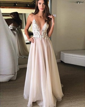 Dusty Pink Spaghetti Straps Appliqued Bodice Tulle Prom Dress PM1279