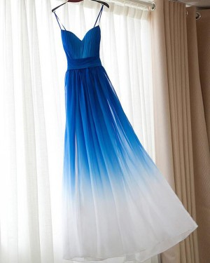 Blue and White Ruched Spaghetti Straps Tulle Bridesmaid Dress PM1280