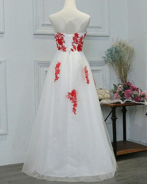 White Tulle Long Sheer Neck Red Lace Applique Formal Dress PM1281