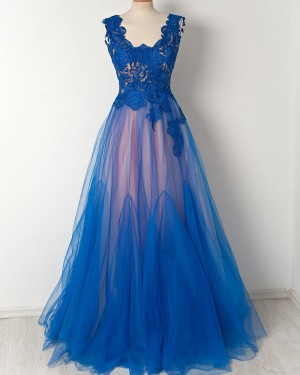 Long V-neck Blue and Pink Lace Bodice Prom Dress PM1284