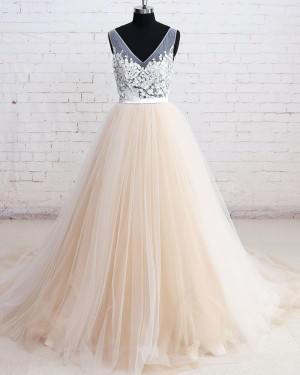 White and Champagne V-neck Tulle Floral Ball Gown Formal Dress PM1290