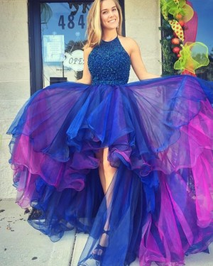 Blue and Red Halter High Low Tulle Beading Prom Dress PM1292