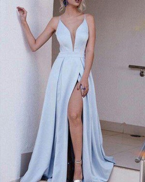 Light Blue Satin Spaghetti Straps Pleated Simple Prom Dress with Side Slit PM1294