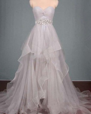 High Low Grey Sweetheart Ruched Beading Ruffled Prom Dress PM1296