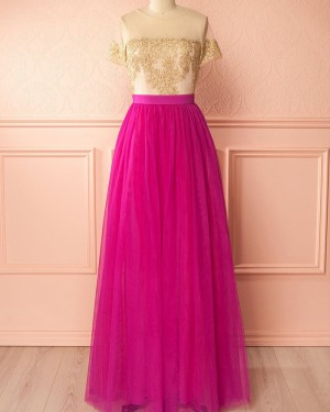 Gold and Red Tulle Appliqued Sheer Neck Bridesmaid Dress with Short Sleeves PM1297