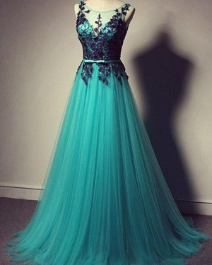 Long Scoop Teal Tulle Lace Bodice Prom Dress PM1300