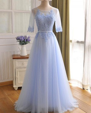Light Blue Lace Appliqued Tulle Prom Dress with Half Length Sleeves PM1301