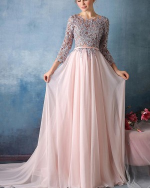 Pink Tulle Jewel Lace Appliqued Formal Dress with 3/4 Length Sleeves PM1303