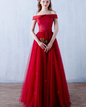 Long Off the Shoulder Red Satin Prom Dress with Handmade Flowers PM1304
