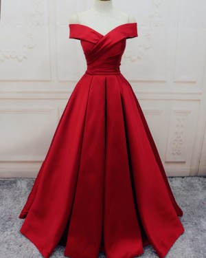 Simple Long Red Off the Shoulder Pleated Satin Prom Dress PM1307