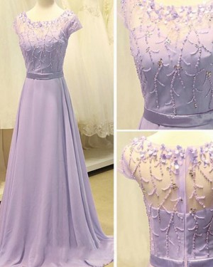 Long Lavender Scoop Beading Chiffon Prom Dress with Short Sleeves PM1309