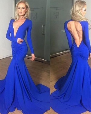 Simple Satin V-neck Ruched Blue Mermaid Style Prom Dress with Long Sleeves PM1310