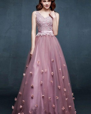 Long V-neck Lace Bodice Tulle Prom Dress with Handmade Flowers PM1311