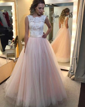 Long Pink Tulle Jewel Lace Appliqued Bodice Prom Dress PM1312