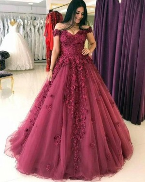 Mulberry Off the Shoulder Lace Appliqued Ball Gown with Handmade Flowers PM1313