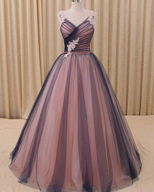 Pink and Black Appliqued V-neck Ruched Ball Gown Evening Dress PM1315