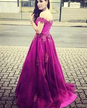 Mulberry Satin Off the Shoulder Beading Prom Dress with Appliques PM1316