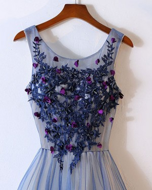 Long Blue Tulle Scoop Appliqued Prom Dress with Handmade Flowers PM1317