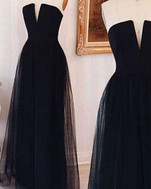 Simple Long Black Cutout Tulle and Satin Prom Dress PM1318